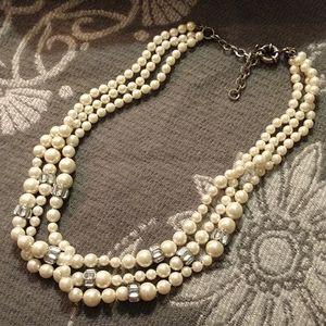 J Crew Multi Strand Pearl Necklace